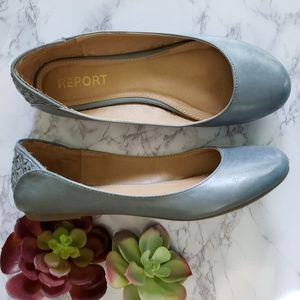 Report | 7.5 leather embellished flats dusty blue
